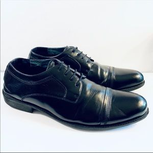 Steve Madden Black Leather Cap Toe Oxford Lace Up